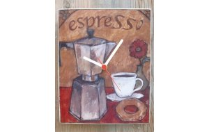 Espresso -  Ρολόι τοίχου χειροποίητο ξύλινο