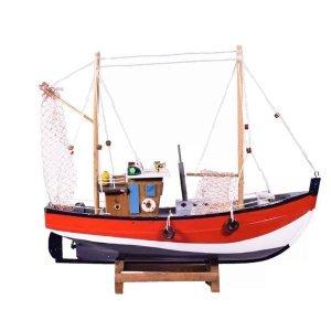 Διακοσμητικό ψαροκάικο από ξύλο με κόκκινο σκαρί 40x9x3