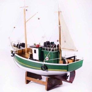 Ξύλινο διακοσμητικό ψαροκάικο με πράσινο σκαρί 32x10x28 &epsi