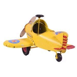 Vintage κίτρινο αεροπλάνο διακοσμητικό 19x18x10 εκ