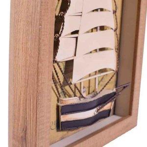 Διακοσμητικό πινακάκι τρισδιάστατο με καράβι 22x4x28 ε&kapp