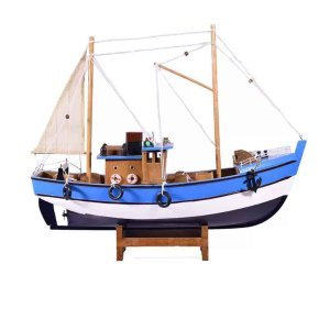 Ξύλινο ψαροκάικο με μπλε σκαρί 32x10x28 εκ