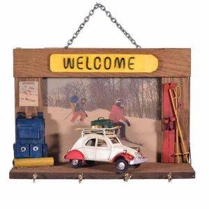 Welcome κλειδοθήκη με λευκό αυτοκίνητο 25x10x18 εκ