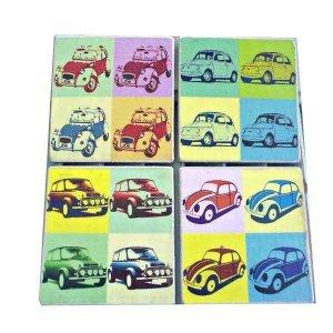 Σετ σουβέρ χειροποίητα 4 τεμάχια Pop Art αυτοκίνητα