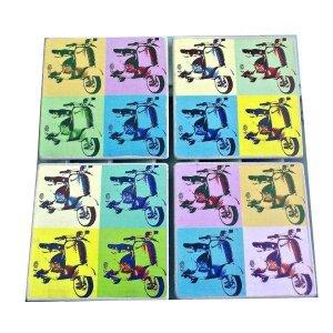 Σουβέρ 4 τεμάχια σετ χειροποίητα Pop Art Μηχανάκια