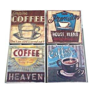 Σουβέρ σετ 4 τεμ χειροποίητα διαφημίσεις Vintage