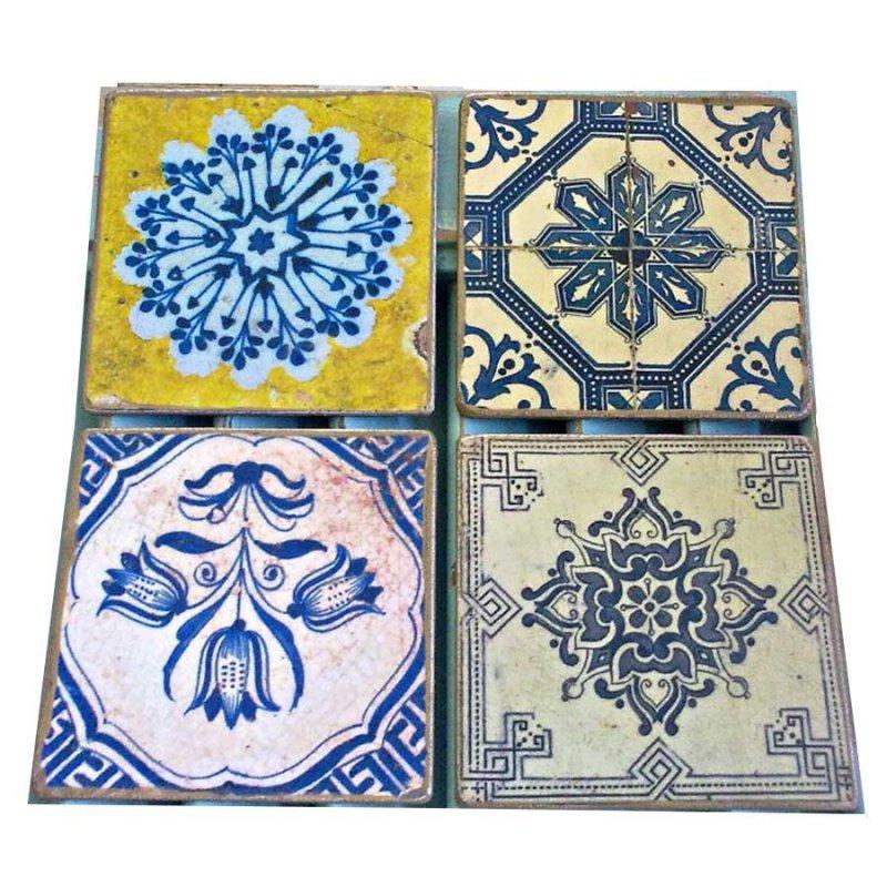 Σουβέρ σετ 4 τεμάχια χειροποίητα Vintage πλακάκια