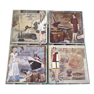 Σουβέρ χειροποίητα σετ 4 τεμάχια με Vintage εικόνες