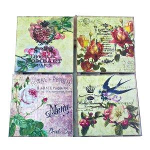 Σουβέρ χειροποίητα σετ 4 τεμάχια Σχέδιο Vintage Flowers