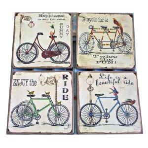 Σουβέρ χειροποίητα σετ 4 τεμάχια Vintage Ποδήλατα