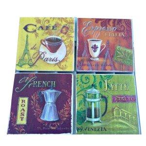 Σουβέρ χειροποίητα σετ 4 τεμάχια Vintage σχέδια καφέ