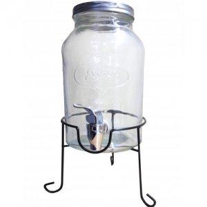 Vintage γυάλινο dispenser με μεταλλική βάση και βρυσάκι 3ltr
