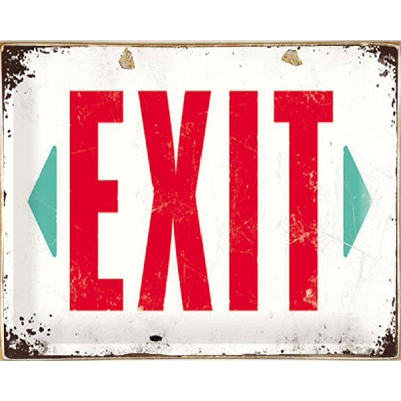 Vintage Ξύλινο Πινακάκι Exit