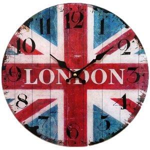 Γυάλινο Ρολόι Τοίχου  Union Jack 30cm