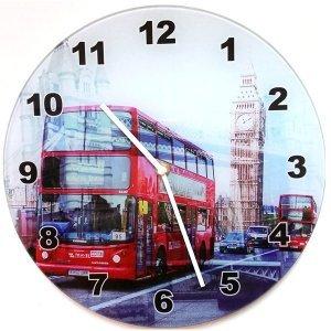 Γυάλινο Ρολόι Τοίχου  London Bus 30cm