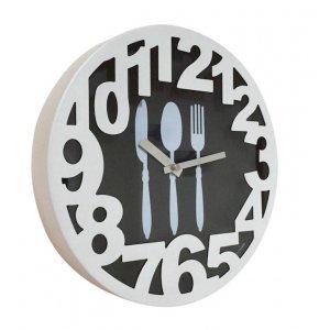 Μεταλλικό Vintage Ρολόι Τοίχου Κουζίνα 3D λευκό 30cm