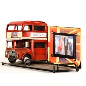 Vintage Φωτογραφοθήκη με Αγγλικό Λεωφορείο 23cm