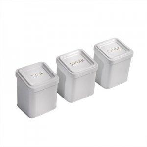 Μεταλλικά βάζα λευκά για καφέ ζάχαρη τσάι σετ 3 τεμ 12x12x16