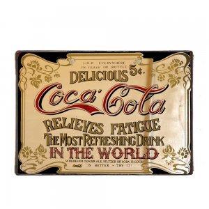 Coca Cola Vintage Ξύλινο Χειροποίητο Πινακάκι 20x30 εκ
