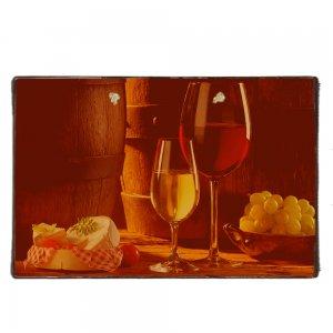 Vintage Ξύλινο Χειροποίητο Πινακάκι με κρασί και σταφύλια  20x30 εκ