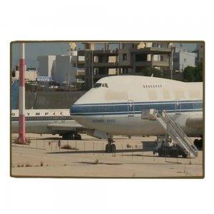 Vintage Ξύλινο Χειροποίητο Πινακάκι Αεροπλάνο Ολυμπιακή  20x30 εκ