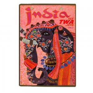 Vintage Ξύλινο Χειροποίητο Πινακάκι India Twa 30x20 εκ