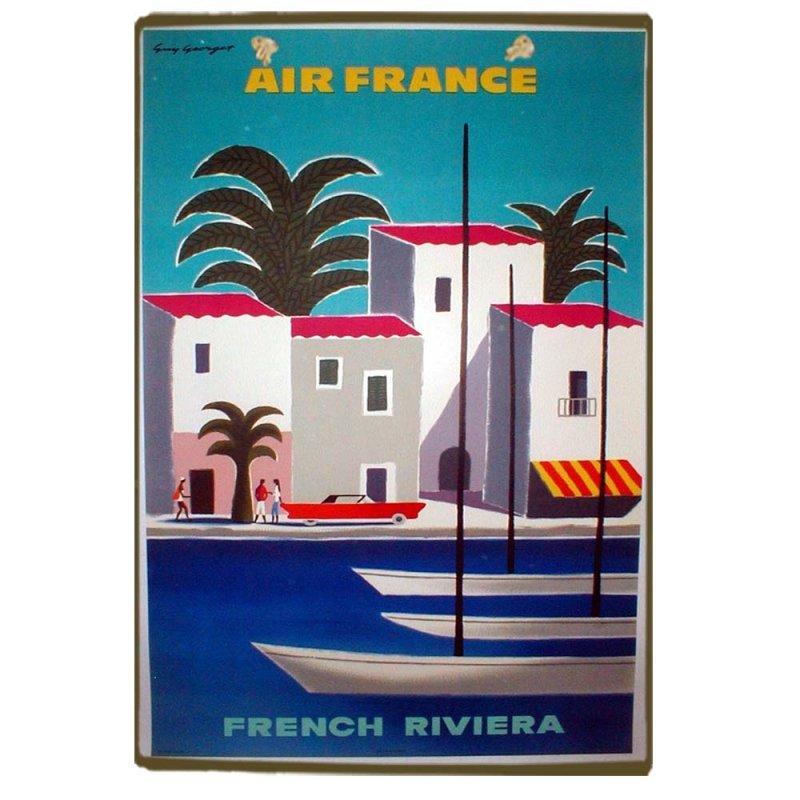 Air France Vintage Ξύλινο Χειροποίητο Πινακάκι 30x20 εκ