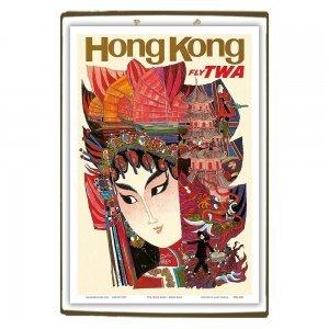 Hong Kong Twa Vintage Ξύλινο Χειροποίητο Πινακάκι 30x20 εκ