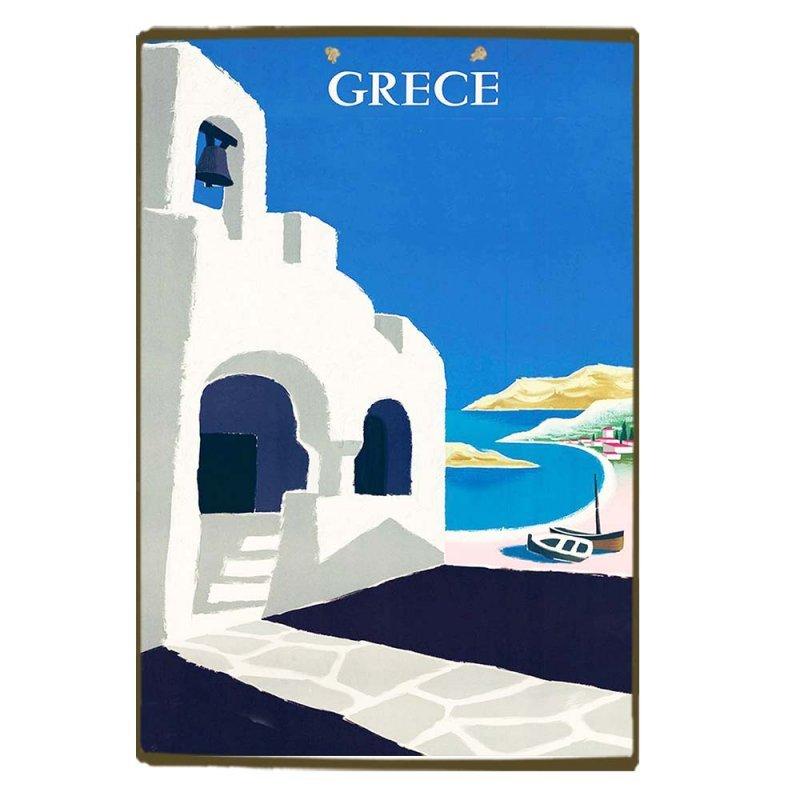 Vintage Ξύλινο Χειροποίητο Πινακάκι - Καμπαναριό Ελλάδα 30x20 εκ