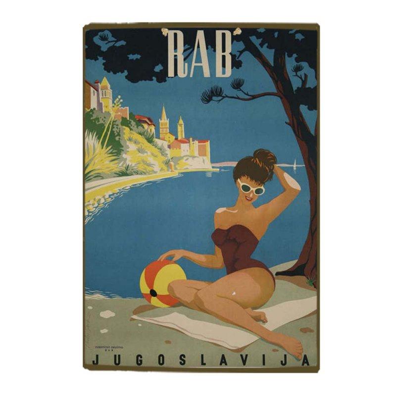 Γυναίκα με Τόπι - Vintage Ξύλινο Χειροποίητο Πινακάκι 30x20 εκ