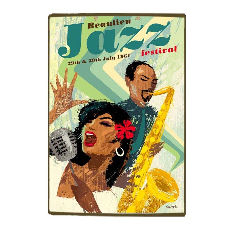 Vintage Ξύλινο Χειροποίητο Πινακάκι Σαξόφωνο Jazz 30x20 εκ