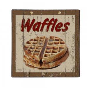 Waffles - Vintage Ξύλινο Χειροποίητο Πινακάκι 32x32 εκ