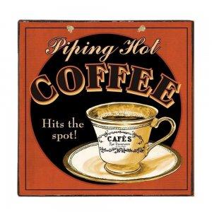Ζεστός Καφές - Vintage Ξύλινο Χειροποίητο Πινακάκι 32x32 εκ