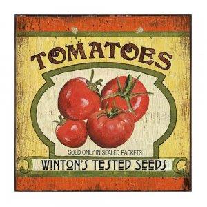 Ντομάτες - Vintage Ξύλινο Χειροποίητο Πινακάκι 32x32 εκ