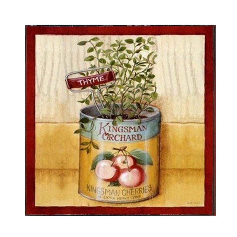 Μυρωδικά σε κονσέρβα - Vintage Ξύλινο Χειροποίητο Πινακάκι 32x32 εκ
