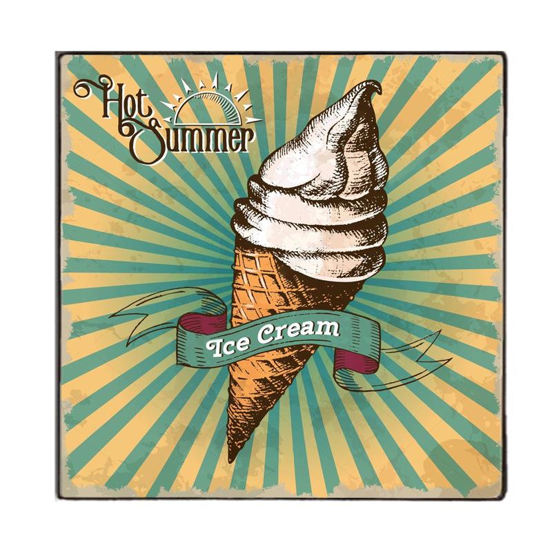 Hot Summer  Παγωτό  - Vintage Ξύλινο Χειροποίητο Πινακάκι 32x32 εκ