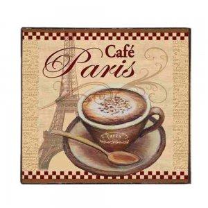 Café Paris Vintage Ξύλινο Χειροποίητο Πινακάκι 32x32 εκ
