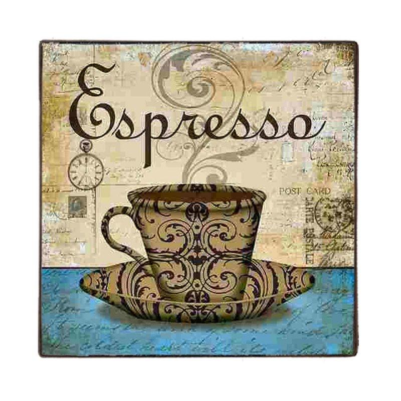 Φλυτζάνι Espresso Vintage Ξύλινο Χειροποίητο Πινακάκι 32x32 εκ