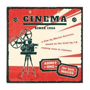 Cinema Ξύλινο Χειροποίητο Πινακάκι 32x32 εκ