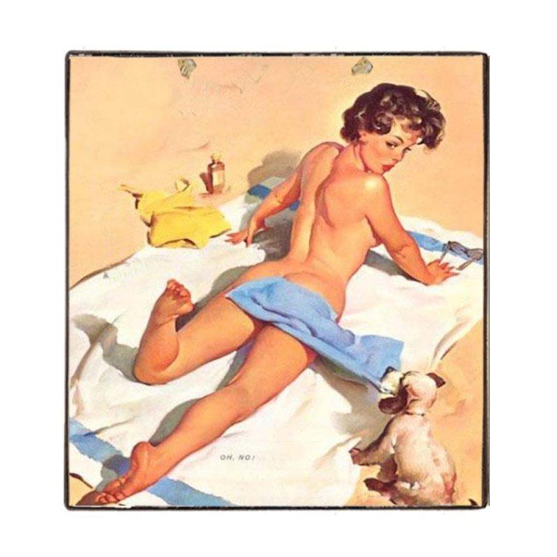 Vintage Ξύλινο Χειροποίητο Πινακάκι Pin Up girl στην πλαζ  32x32 εκ