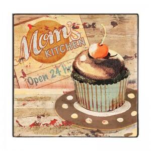 Vintage Ξύλινο Χειροποίητο Πινακάκι με κέικ 32x32 εκ