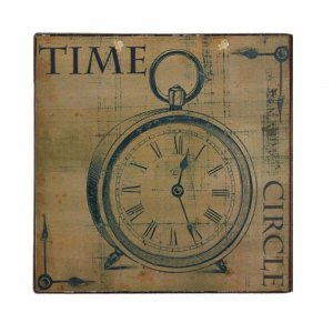 Vintage Ξύλινο Χειροποίητο Πινακάκι Ρολόι Time 32x32 εκ