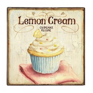 Lemon Cream Ξύλινο Χειροποίητο Πινακάκι 32x32 εκ