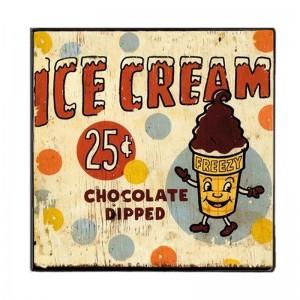 Ice Cream παγωτό κυπελάκι Ξύλινο Χειροποίητο Πινακάκι 20x30 εκ