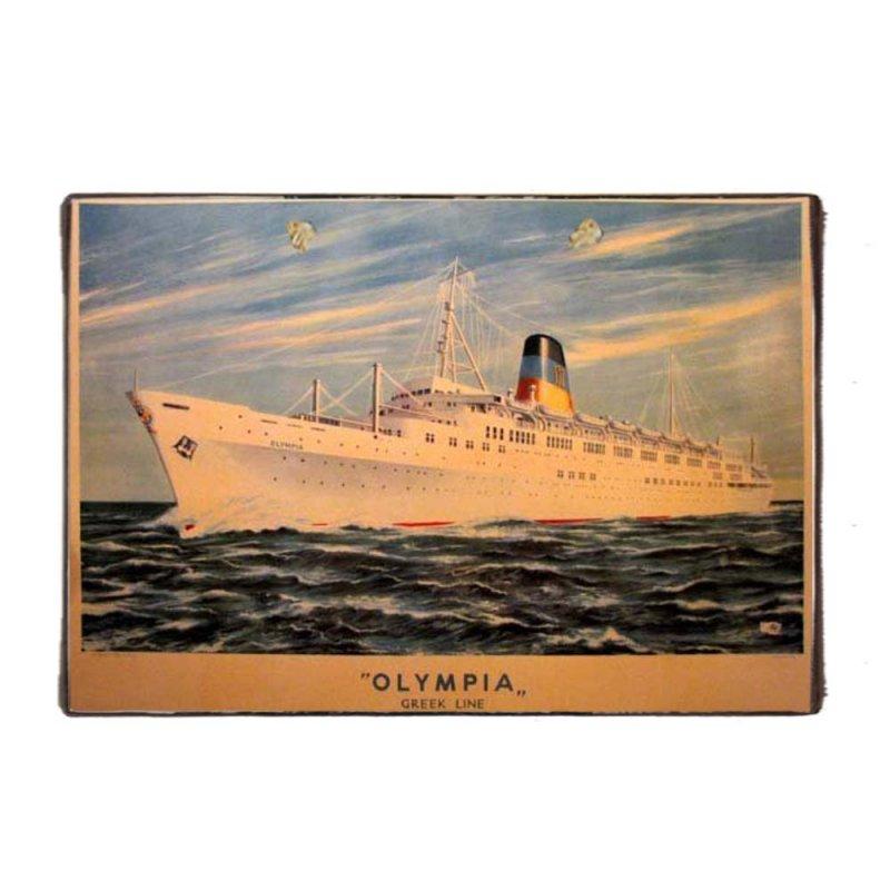 Olympia greek line Ξύλινο Χειροποίητο Πινακάκι 20x30 εκ