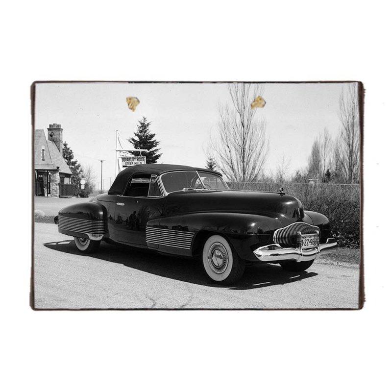 Ξύλινο Χειροποίητο Πινακάκι Ασπρόμαυρη φώτο παλιό αυτοκίνητο 20x30 εκ