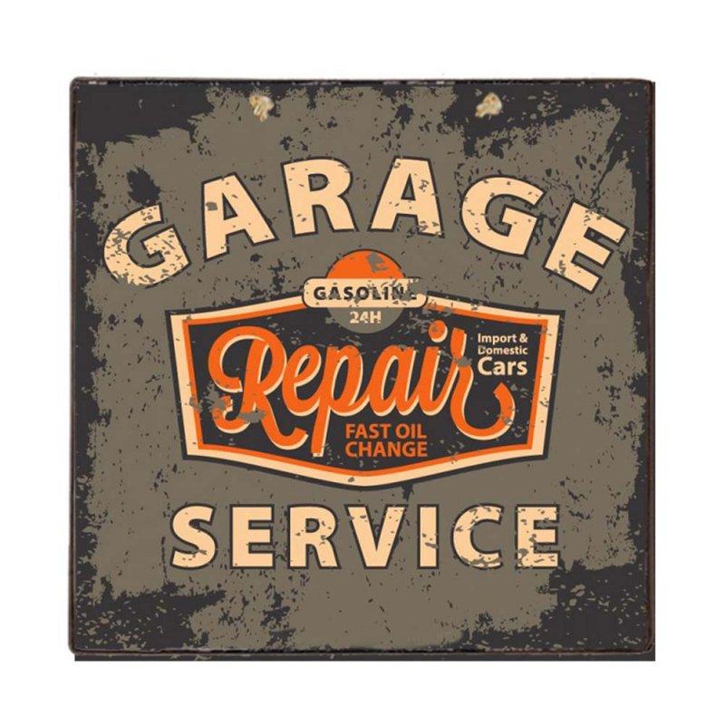 Ξύλινο Χειροποίητο Πινακάκι Garaze Service 32x32 εκ