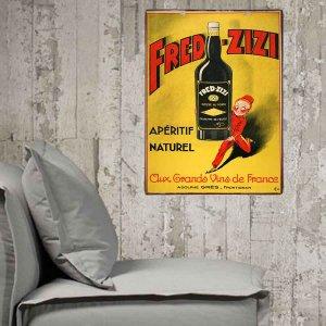 Vintage ξύλινος πίνακας Fred-Zizi  20x30εκ