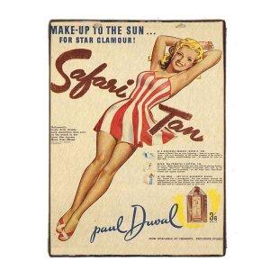 Vintage ξύλινος πίνακας Pin up Girl διαφήμιση Αντιλιακού 20x30 εκ