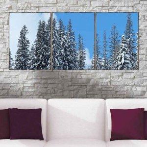 Χιονισμένα δάσος - Τρίπτυχος Πίνακας Χειροποίητος